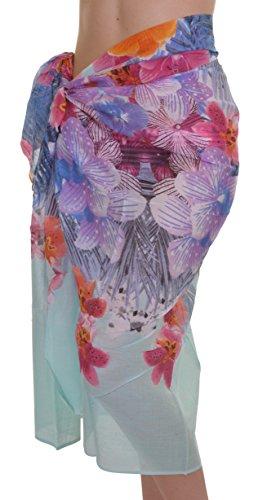 Orientalische Damen Orchidee Baumwolle, mehrfarbig, Lemon, Aqua und weißer Sockel Grün - Multi Aqua