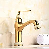 ZQDL Bathroom Faucet Jade Gold Classic European Style All-Copper Material Hot & Cold Faucet,for Home Washbasin Bathroom Cabinet Wash Basin