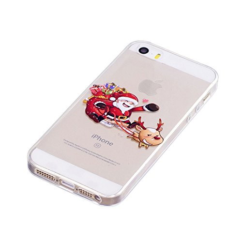 iPhone 5S / SE / 5 Copertura,Bella Weihnachtsmann ogni Pattern Ultra sottile Custodia in TPU Gel [Transparent] Copertura posteriore in gomma flessibile Copertura protettiva Case for iPhone 5S /SE /5 colour 8