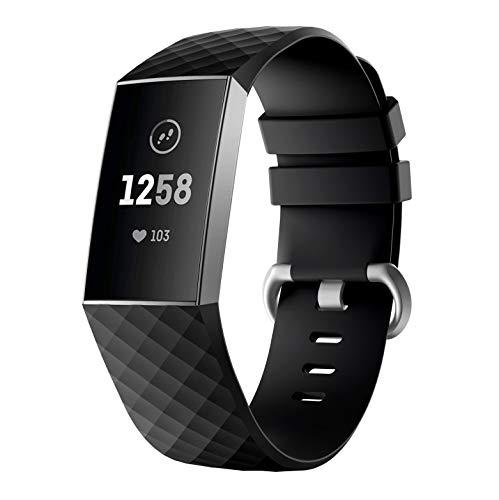 Linkfit Ersatzarmband Für Fitbit Charge 3 Armband,Damen Herren Weiche Silikon Sport Einstellbare Uhrenarmband kompatibel für Fitbit Charge 3 (Schwarz, L)