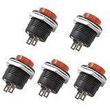 qianzhi 16mm Drucktastenschalter EIN/AUS Momentary Button Power Switch (5Pcs)