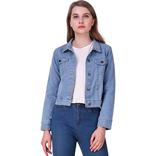 KING-DENIM Shree Kmt Enterprises Women's Denim Full Sleeves Comfort Fit Regular Collar Jacket (Blue, Medium)