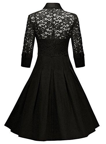Azbro Women's Vintage 3/4 Sleeve Lace Cocktail Swing Dress Burgundy