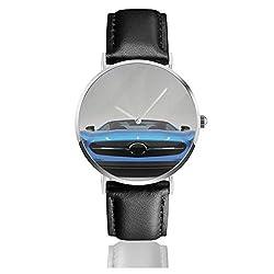 Moderne Blaue Sportwagen-Energie-Prestigegeschwindigkeits-schnelle Träger-Automobil-Bild-Schwarz-Quarz-Bewegung-Edelstahl-Lederarmband passt beiläufige Art- und Weisearmbanduhren auf
