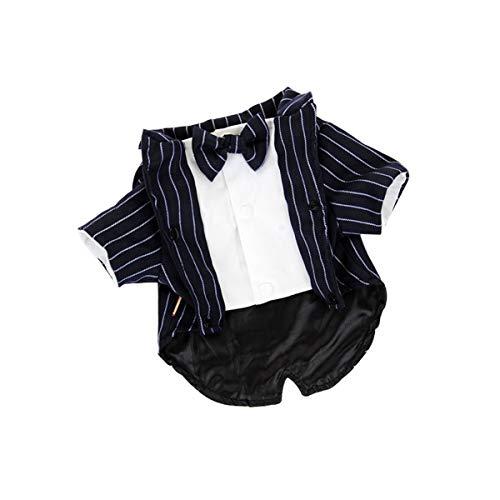 bouti1583 Anzug für Hunde, Katzen, Welpen, Hochzeit, Party, mit Fliege, Marineblau gestreift, XL