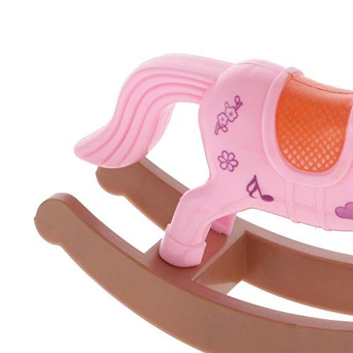 Sharplace Rosa Cavallo A Dondolo In Miniatura per Bambole Barbie Casa Delle Bambole Giardino Accessorio, 11.5 * 4 * 9 cm, Plastica