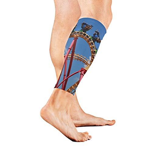 KAOROU EIN spannendes Spiel Achterbahn Kalb Kompression Ärmel Bein Kompression Socken für Schienbeinschiene Kalb Schmerzlinderung Männer Frauen und Läufer verbessert die Durchblutung ()