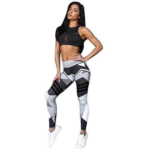 Mujer yoga pantalones deportivos,Yannerr Skinny Impresión estampada secado rápido elástico transpirables gimnasio entrenamiento fitness danza running leggings pantalón largos ropa (S, Gris)