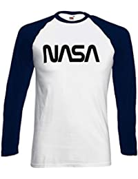 Nasa National Space Galaxy Novelty Black/White Femme Homme Men Women Unisex Manches Longues Long Sleeve Baseball T Shirt