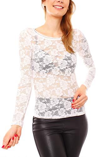 Easy Young Fashion Damen Langarmshirt Spitze Transparent Netz Unterhemd Skiny Spitzenshirt mit Blumen Muster One Size Creme -