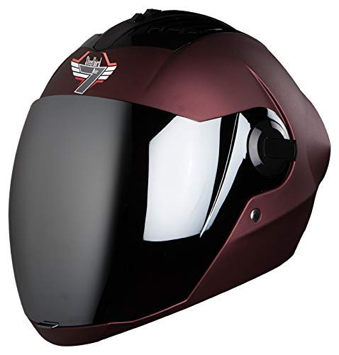 Steelbird SBA-2 7WINGS Full Face Helmet In Matt Finish with Tinted Visor (Medium 580 MM, Matt Maroon/Silver Visor)