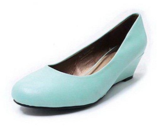 AalarDom Femme Rond Fermeture D'Orteil Tire à Talon Correct Chaussures Légeres Bleu Clair