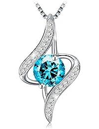 """J.Rosée Kette Damen 925 Sterling Silber 3A Zirkonia 0.75 carat Anhänger """" Liebe auf ersten Augenblick """" 45+5cm Halskette exquisite Geschenk-Box(blau)"""