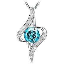 """J.Rosée Collar Plata de Ley 925 """"Ángel de la Guarda"""" Cristal Azul Rodeado de Diamante para Mujer(45cm)"""
