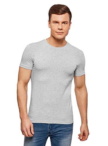 2300 T-shirt Short (oodji Ultra Herren Tailliertes T-Shirt Basic, Grau, XS)