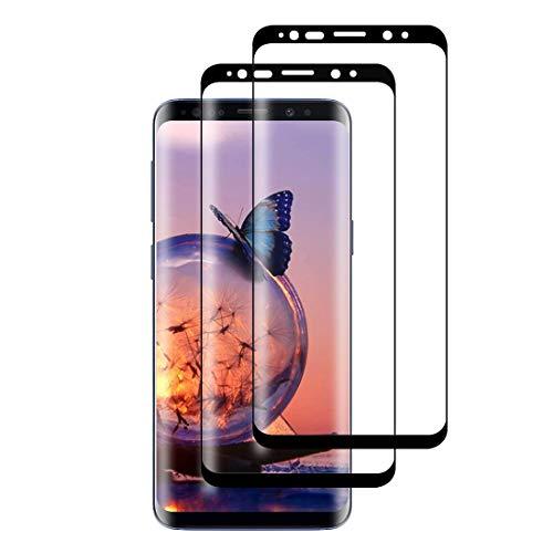 XSWO Verre Trempé Galaxy S8, Protection écran pour Samsung S8 [3D Couverture Complète] [Haute Sensibilité] [Pose Facile] [Anti Rayures] [Sans Bulles] [2 Pièces] Protége écran Samsung Galaxy S8