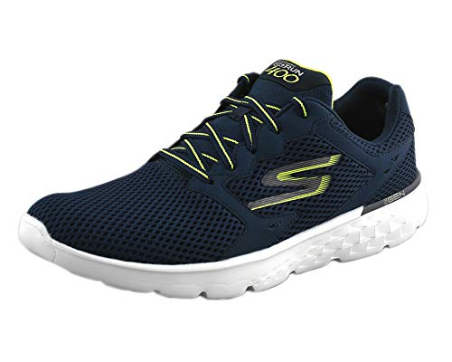 24. Skechers Men's Performance Go Run 400 Navy White Mesh Walking Shoes