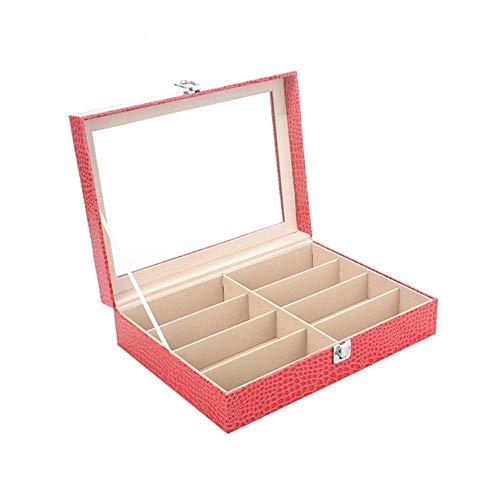 uliaadela Rose rotes Krokodil Muster 8 Gläser Display Box aus Holz Uhr Schmuckschatulle PU-Brille Aufbewahrungsbox Display-muster