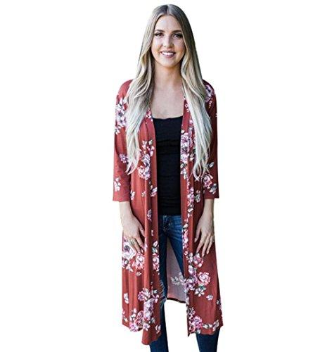 Rot Floral Kimono (Damen Blumen Kimono Cardigan Chiffon | ZEZKT Floral Print Schal Tops Kimono Outwear Blumenmuster Oberteil Langarmshirt Herbst Casual Lose Jacke (XL, Rot))