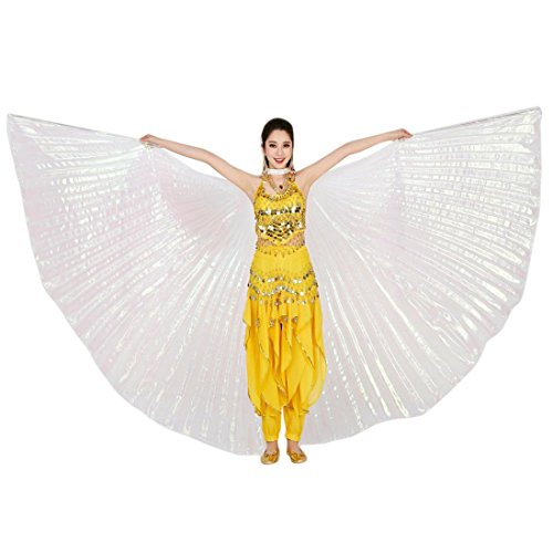Overdose 142CM Frauen Egypt Belly Wings Dancing Costume Belly Dance accessories No Sticks Ägypten Bauch Flügel Tanz Kostüm Bauchtanz Zubehör Keine Sticks (142CM, Weiß)