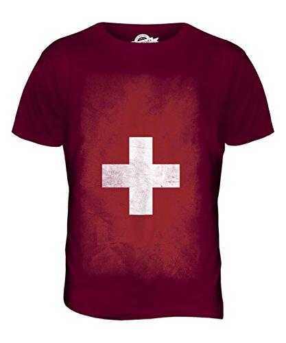 CandyMix Schweiz Verblichen Flagge Herren T Shirt Burgunderrot