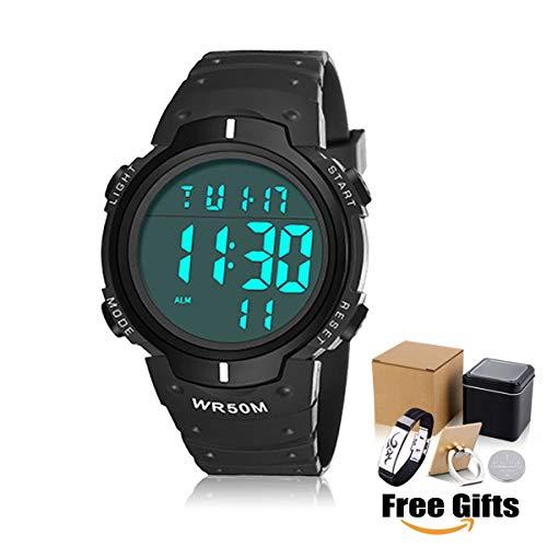 Armbanduhr Digitale Sportuhr für Herren 50 Meter Wasserdicht Uhr Digital Led Alarm Kalender Uhren Watches für Männer, modische, große sowie robuste Armbanduhr im militärischen Stil, Multifunktions
