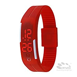 TurboTech Fashion Sport LED Watches Unisex Silicone Rubber Touch Screen Digital Watches, Bracelet Wristwatch - Red