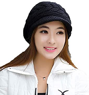 781ff54c8fb42 ... Krystle Prime Women Winter Warm Knit Hat Wool Snow Ski Caps with  Visor(Black)