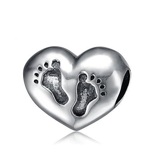 Baby Füße Herz - Sterling Silber Charme Perlen für Europäisch Style Armbänder (Herz Fuß)