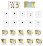 9.1 Audio/AV Surround Sound Lautsprecher-Wandplatte, Weiß mit Goldfarbenen Steckern + 1 Cinch + Kunststoff-Unterputzdosen Kein Löten erforderlich.