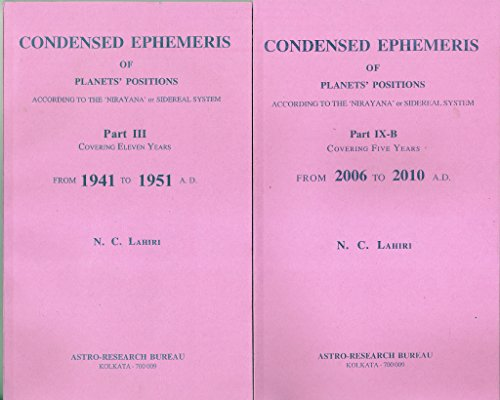 Lahiri Ephemeris Complete Condensed Set 1941 to 2015
