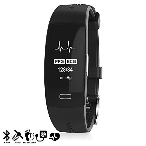 DAM Silica DMX126BK Silica DMX126BK Smart-Armband p3 für iOS und Android mit Herzfrequenz- und Blutdruckmessgerät schwarz