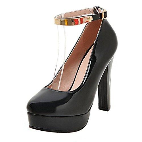 TAOFFEN Femmes Chaussures De Talons Hauts Mode Bloc Plateforme Escarpins De Boucle Noir