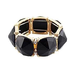 Shining Diva Fashion Black Stone Coff & Kadaa Bracelet for Girls & Women(4814b)