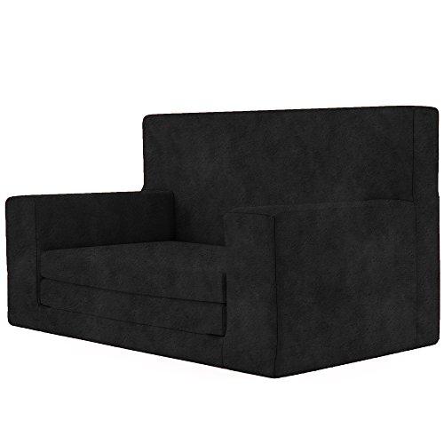 Kids Kinder 2 in 1 Kindersofa in Schwarz mit Waschbarem Überzug - Schaumstoff aus Deutschland Spielzeug Couch und Bett Schlaf Matratze zum Auffalten für Kinder von 1-4