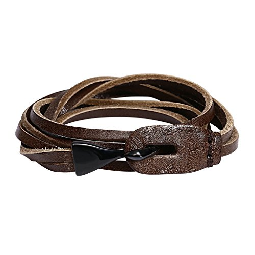mens-stainless-steel-fish-hook-bracelets-black-brown-ropes-33x16cm