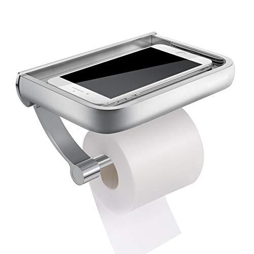 ZH An der Wand befestigter Toilettenpapierhalter , Bohren Edelstahl Raum Aluminium Helles Licht Prozess Design Toilettenpapieraufbewahrung Mit Moblie Telefonhalter Ständer , for Küchenbadezimmer , Sil