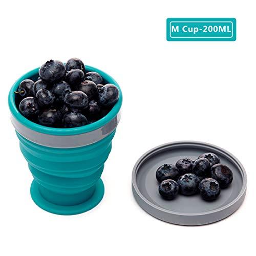M Square M Quadratische Faltbare Futternapf aus lebensmittelechtem Silikon mit Deckel, BPA-frei, Camping, Reisen, Haustiere, Wandern, Rucksackreisen-Schüssel, (6.83oz Blue) -