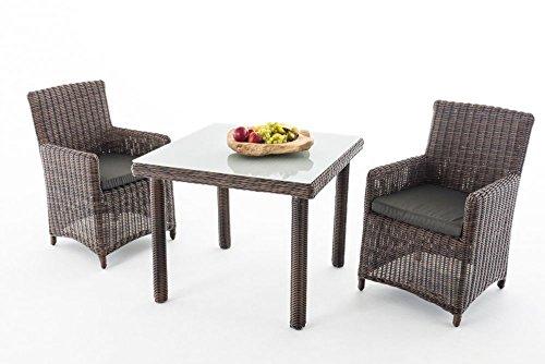 Gartenmöbel, Gartenmöbel-Set, Sitzgruppe Dorado M100, braun-meliert / anthrazit, Polyrattan-Aluminium-Gestell, Gartengarnitur, Sitzgarnitur.