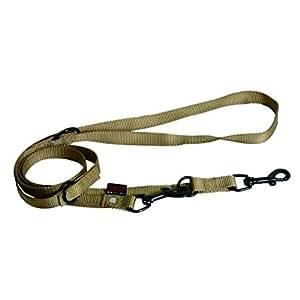 Laisse dressage 3 positions nylon uni largeur 2cm et long 200cm beige