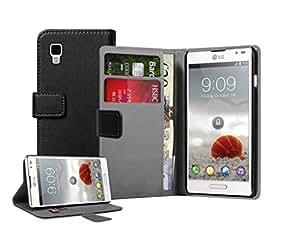 Schwarz Leder Brieftasche Aufklappbare Tasche Hülle für LG P760 Optimus L9 - Flip Case Cover + 2 Displayschutzfolie
