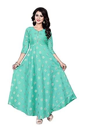 Rangrasiya Corporation Women's Chanderi Cotton Anarkali Gown (Green)