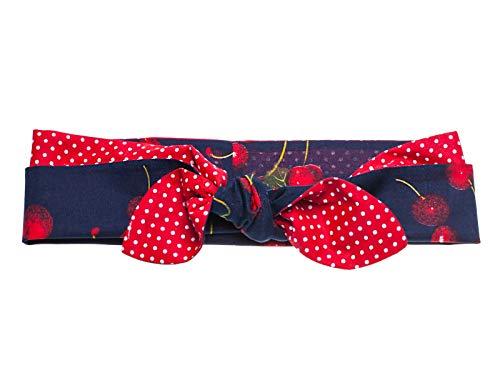 SETRINO Rockabilly Haarband Punkte Kirschen breit blau rot weiss -