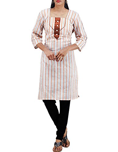 Unnati Silks Women Sloka Weaves White Pure Rajkot Cotton Kurti