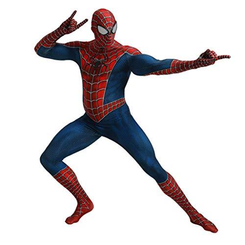 Henxizucun Frauen Spiderman Cosplay Kostüm Frauen DC Hero Kostüm Kleidung Superheld Spider-Man Weihnachten Halloween Show Body Overalls,Blue,M