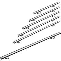 Pasamanos acero inoxidable 316 barandilla baranda pasamanos para pared pared escalera Montaje 50 - 600 cm V2Aox, Length:200 cm