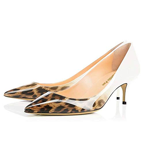 6d3e235b35c1 Caitlin Pan Mujeres Classic Kitten Heels Pointy Toe Pumps Office Ladies  Zapatos de Vestir