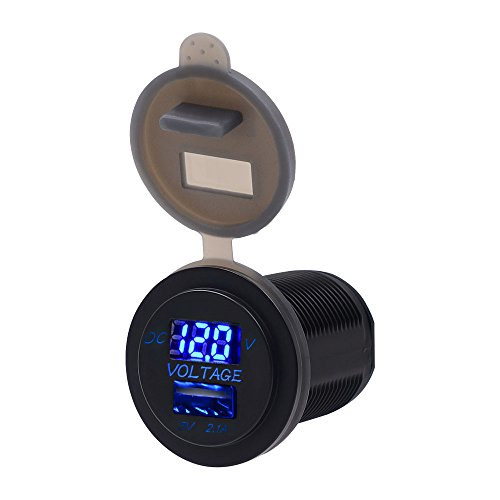 TurnRaise Impermeable LED 12-24V Coche Moto Marina RV Cigarrillo Encendedor toma USB...