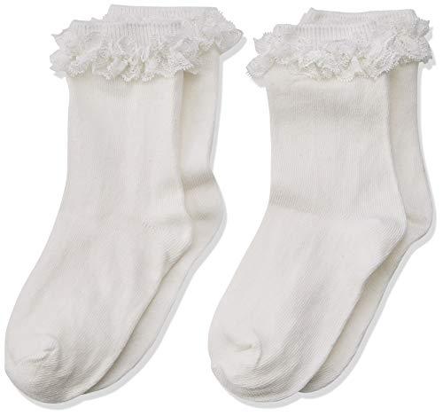 NAME IT Baby-Mädchen Socken NMFSOCK 2P White NELACE NOOS, 2er Pack, Weiß (Weiß Bright White), 25-28 (Herstellergröße: 28/30)