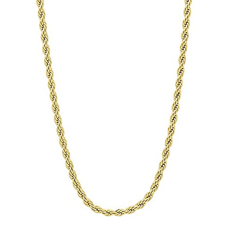 2.4mm 14k Gold Plated French Rope Chain Necklace,